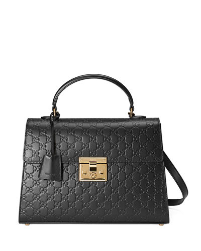 Padlock Medium Guccissima Top-Handle Satchel Bag
