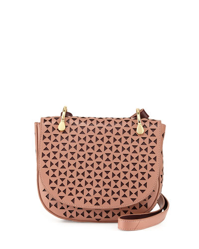 Zoe Perforated Leather Saddle Bag