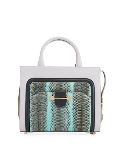 Daphne Watersnake & Leather Crossbody Tote Bag