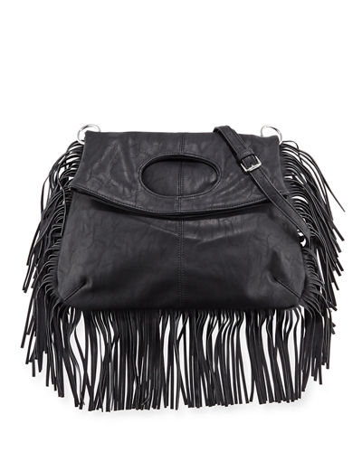 Style Icon Faux-Leather Shoulder Bag, Black
