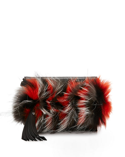 Nina Mini Crazy Fur Clutch Bag, Papaya