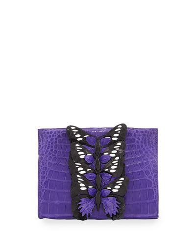 Butterfly Crocodile Small Clutch Bag