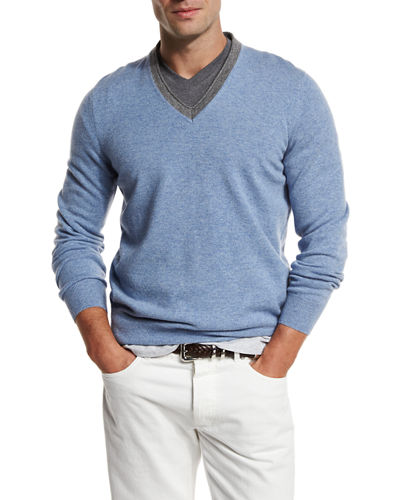 Contrast-Collar Cashmere Sweater