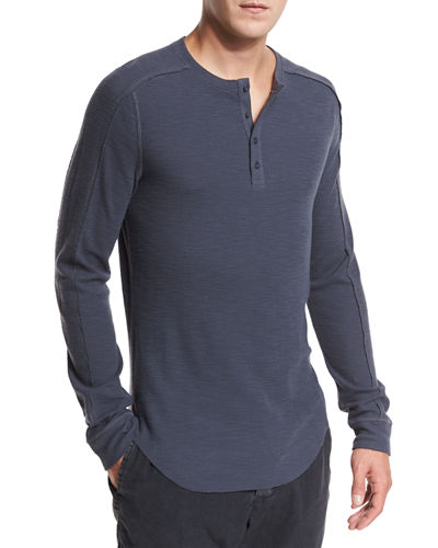 Ribbed Raw-Edge Henley T-Shirt