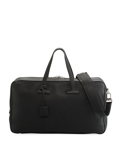 T Line Men's Grained Leather Weekender Bag