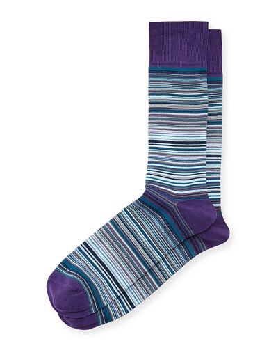 Striped Mercerized Crew Socks