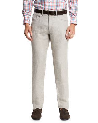 Fitted Linen Pants | Neiman Marcus