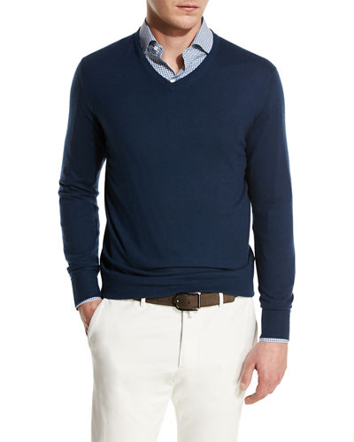 Loro Piana Scollo V-Neck Superlight Baby Cashmere Sweater