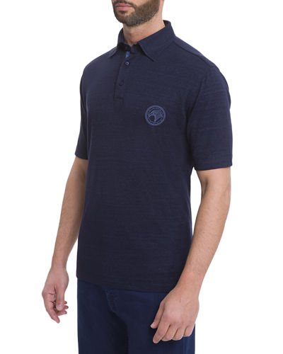 Eagle-Stitch Linen-Cotton Polo Shirt
