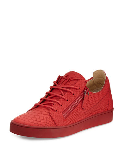 Men's Croc-Embossed Leather Low-Top Sneaker