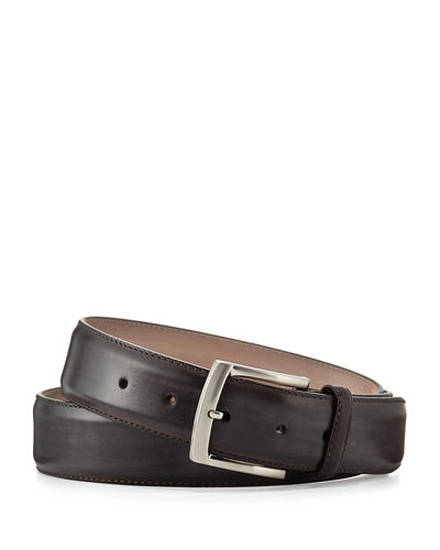 Square-Buckle Calf Leather Belt