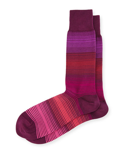 Fine Gradient-Striped Socks