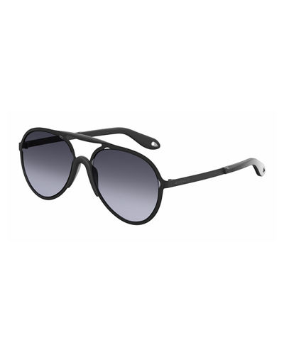 Stainless Steel & Rubber Aviator Sunglasses