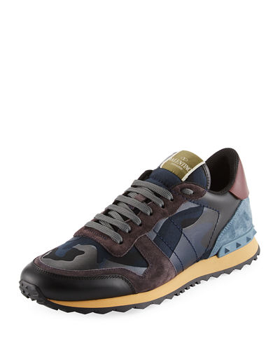 Men's Rockrunner Camo Leather Trainer Sneaker