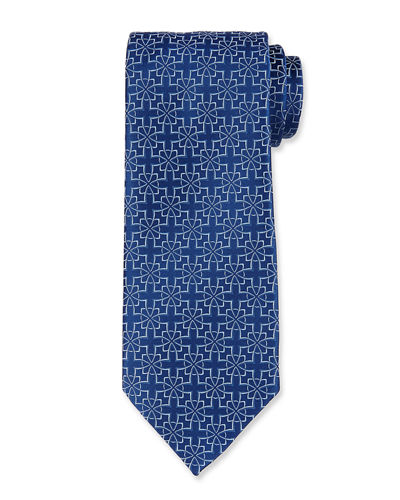 Diamond Flower Silk Tie