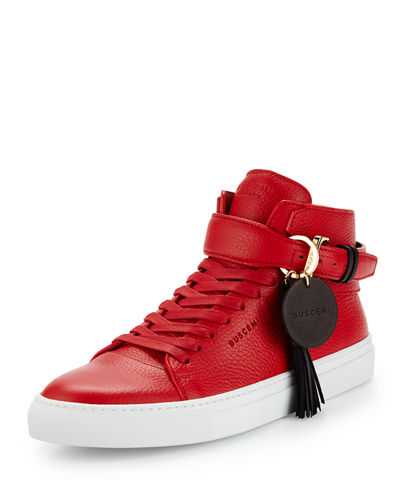 100mm Tassel Leather High-Top Sneaker