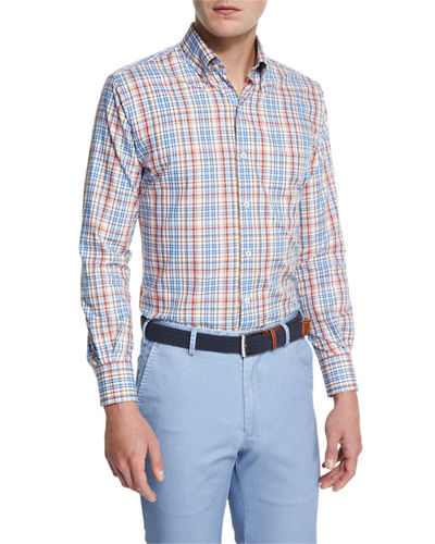 Peter Millar Melange Plaid Sport Shirt