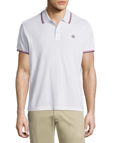 Tipped Short-Sleeve Pique Polo Shirt