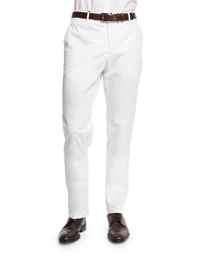 Parker Cotton-Stretch Flat-Front Trousers