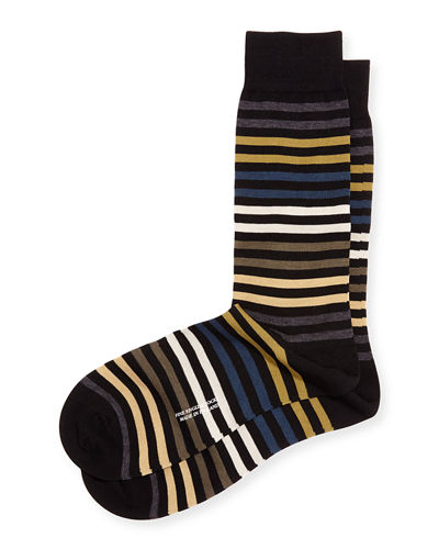Mid-Calf Multi-Stripe Dress Socks