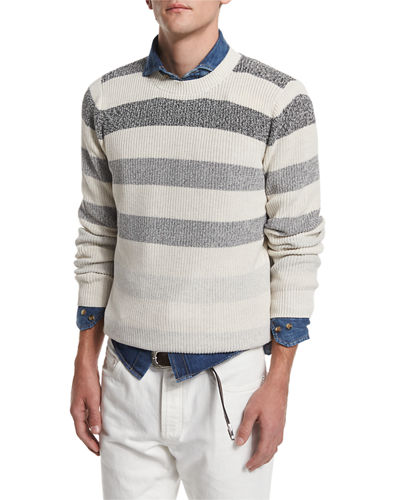 Degrade-Stripe Crewneck Sweater