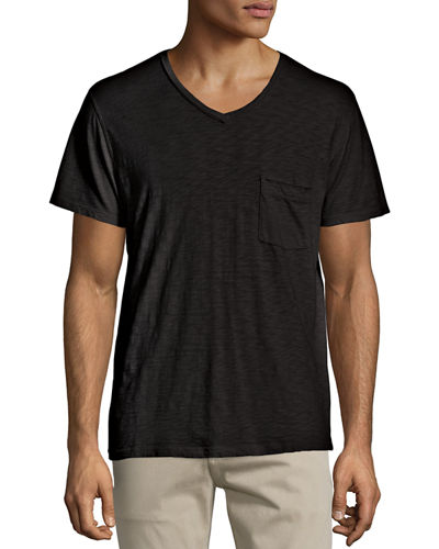 Raw Short-Sleeve V-Neck Tee