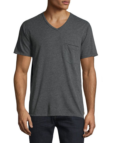 Raw Short-Sleeve V-Neck T-Shirt