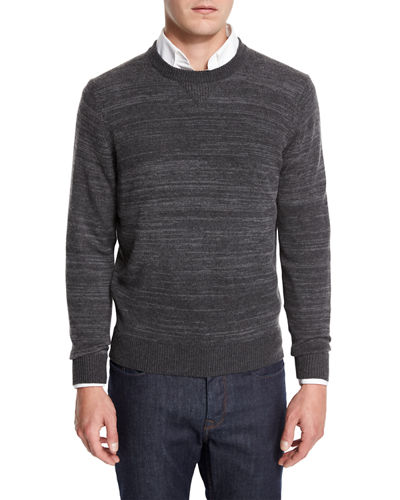 Cashmere-Cotton Athletic Crewneck Sweater