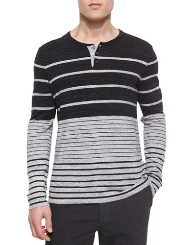 Striped Colorblock Knit Henley Tee