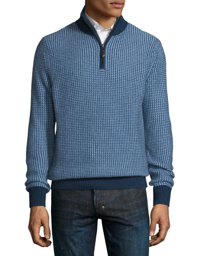Textured Cashmere Quarter-Zip Sweater