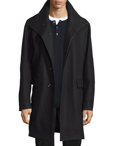 Raw-Edge Single-Breasted Military Coat