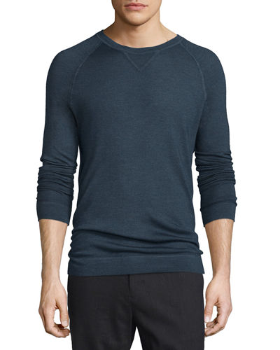 Raglan-Sleeve Crewneck Sweater, Light Blue