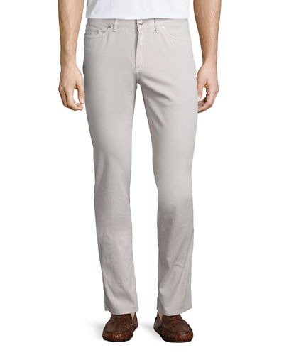 Five-Pocket Stretch-Cotton Pants, Ivory