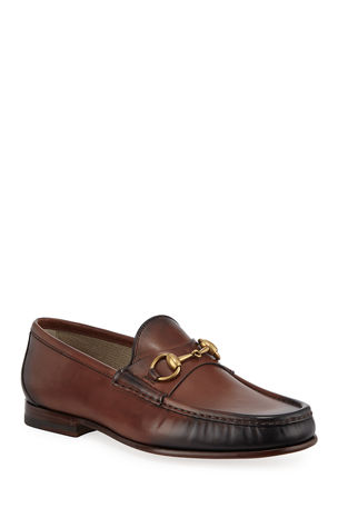 Gucci Men's Leather Horsebit Loafers