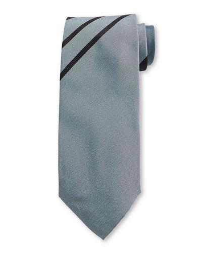 Asymmetric Stripe Silk Tie