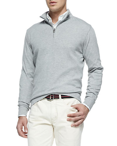 1/2-Zip Jersey Pullover Sweater