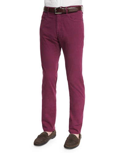 Ray Washed Regular-Fit Pants, Raspberry