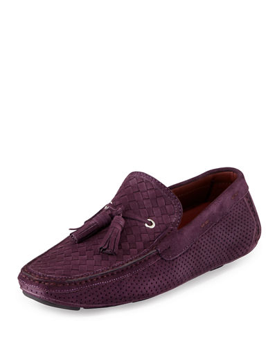 Woven & Perforated Suede Tassel Driver