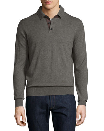 Cashmere Long-Sleeve Polo Sweater, Dark Smoke