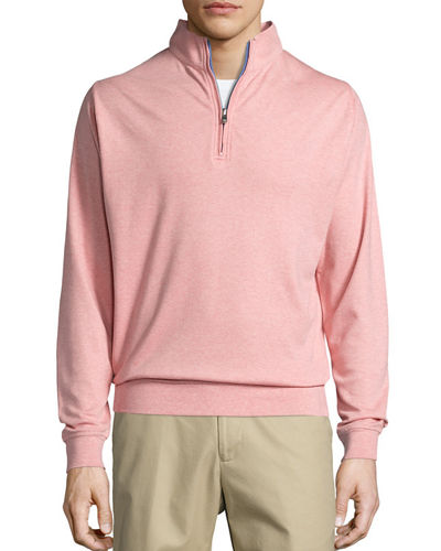Heather Interlock Quarter-Zip Sweater