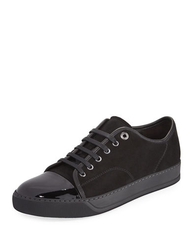 Suede & Patent Leather Low-Top Sneaker