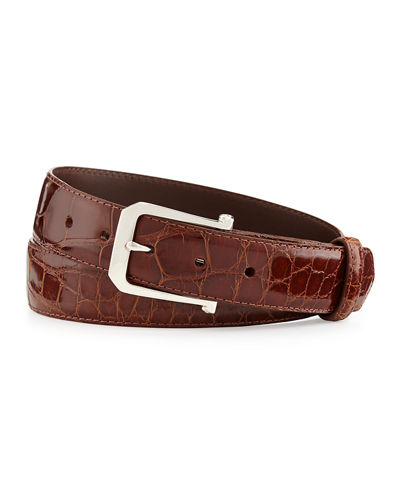 W. Kleinberg Custom Glazed Alligator Belt with Sterling