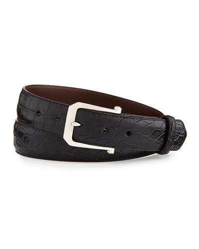 W.Kleinberg Matte Alligator Belt with Sterling Silver Buckle