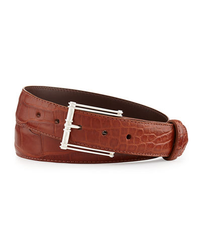 Matte Alligator Belt with Sterling Silver Buckle (Made to Order)