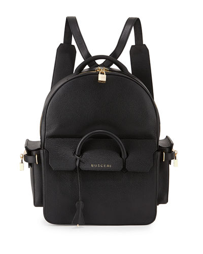BuscemiPHD Large Leather Backpack, Black
