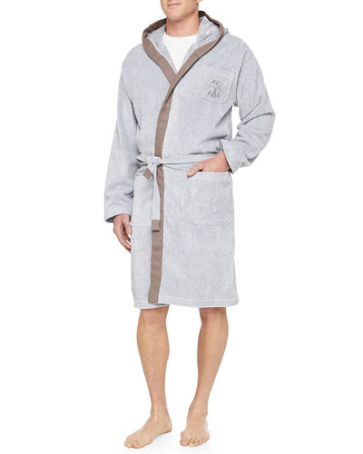 Brunello Cucinelli Men's Cotton Spa Robe, Gray