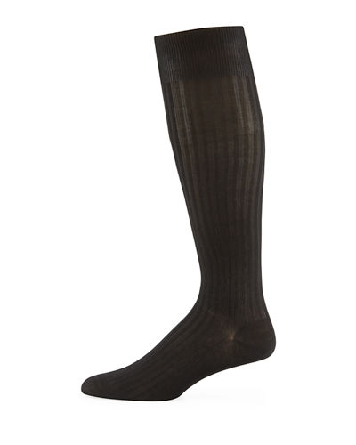 Over-the-Calf Ribbed Lisle Socks