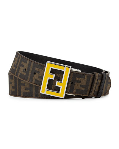 Fendi Reversible Zucca-Print Enamel-Buckle Belt