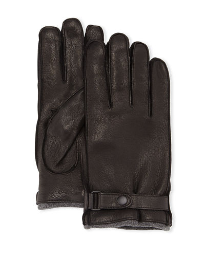 Cashmere-Lined Leather Gloves with Snap