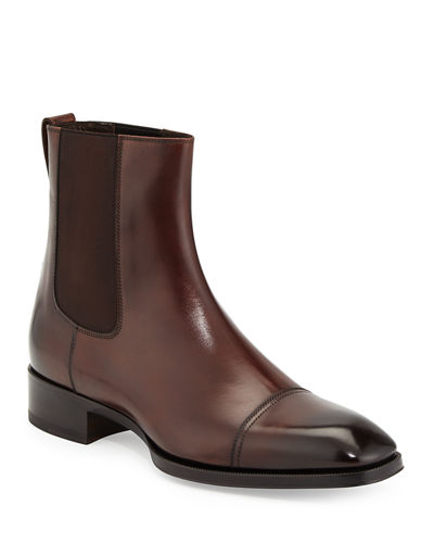 TOM FORD Gianni Leather Chelsea Boot, Brown